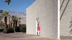 """Wedding aesthetic Parker Hotel 4200 E. Palm Canyon Dr, recently re-designed by Jonathan Adler. This vast wall of is made of """"Vista-Vue"""" pattern screen block. Both beautiful and functional. Palm Springs Hotels, Interior Design New York, Gray Interior, Parker Hotel, Parker Palm Springs, Spring Design, Facade Architecture, Mid Century House, Mid Century Modern Design"""