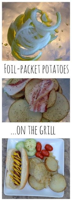 Foil-packet potatoes, cooked on the grill with bacon and onion. Delicious!