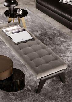 Contemporary upholstered bench / by Rodolfo Dordoni KIRK Minotti