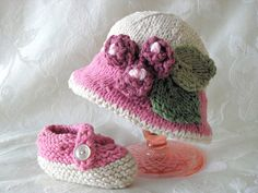 Knitting Pattern for Brimmed Baby Hat in Pink by CottonPickings