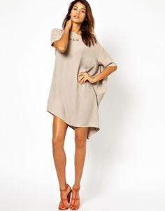 Image 1 of ASOS Shift Dress With Asymmetric Hem
