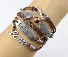 Infinity jewelry believe that love charm