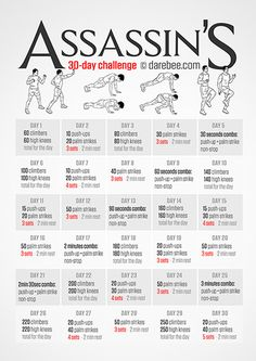 Assassin's Challenge From Darebee.com awesome workout challenges! All levels, lots of fun