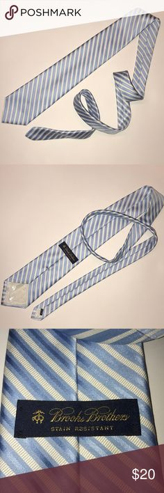 BROOKS BROTHERS • Stripped Tie White and blue Brooks Brothers Tie  • ~59in long • stain resistant • pure silk  • recently dry cleaned Brooks Brothers Accessories Ties