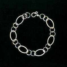 Oval Chain Silver Bracelet Large Oval Circle by WvWorksJewelry