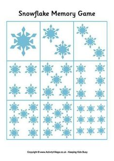 Print out these snowflake cards for counting activities, matching, or playing memory. Fun for the winter classroom! Winter Crafts For Toddlers, Winter Kids, Winter Art, Winter Activities, Counting Activities, Memory Games For Kids, Math For Kids, Snow Theme, Winter Theme