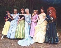 Snow White, Cinderella, Anna, Elsa, Rapunzel, Belle and Merida