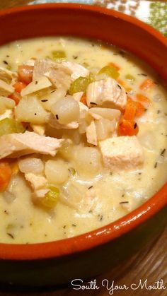 Creamy Chicken & Potato Soup. A rich stock with chicken and potatoes finished with a little cream at the end for the perfect amount of richness without being too heavy.