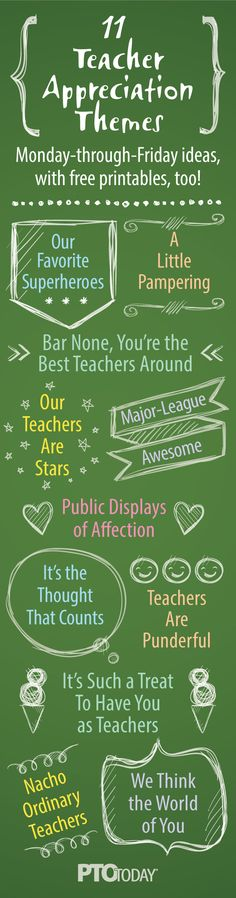 Get our fun ideas for Teacher Appreciation themes -- each has 5 ideas for a full-week of fun!