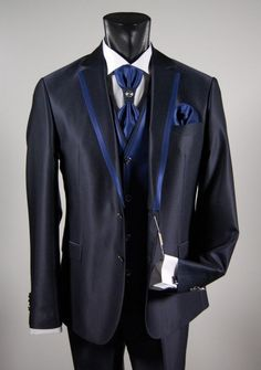 Blue dress shirt tie and vest full ceremony Milan musani