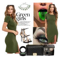 """Untitled #50"" by alma77 ❤ liked on Polyvore featuring Green Girls, LULUS, Prada, Giuseppe Zanotti, Chantecaille and MAC Cosmetics"