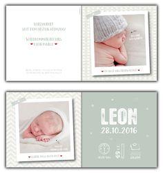 Leon: Geburtskarte 148x148 mm // Karte ist in jeder beliebigen Wunschfarbe erhältlich