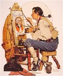 Pipe and Bowl sign Painter - Norman Rockwell