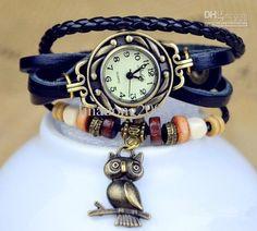 mode großhandel hohe qualität frauen aus echtem leder-Vintage-Uhr-Eule-Anhänger