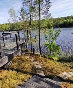 Lake and kuntta – Villa Glass House Pine Trees Forest, Small Lake, True Nature, Glass House, Garden Bridge, Evergreen, Fields, Villa, Outdoor Structures