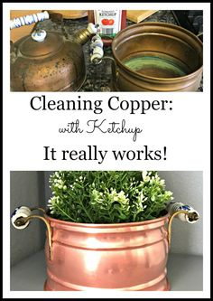 How to clean copper mugs, pots, pans, and more! This is the easiest and fastest way, and would you believe its with ketchup! Diy Cleaning Products, Cleaning Hacks, Cleaning Solutions, Cleaning Window Tracks, Copper Cleaner, How To Clean Copper, Clean Pots, Copper Pans, Cleaning Painted Walls