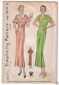 1930s housecoat pattern, Simplicity 1428