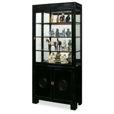 """40in Rosewood Longevity Motif China Cabinet - Black by ChinaFurnitureOnline. $1790.00. Upper: three adjustable shelves behind glass door, mirror back, halogen lights. Dimensions: 40""""W x 14""""D x 82""""H. Hand-applied black ebony finish. Lower: double door compartment with removable shelf. A grand curio cabinet to display your treasured collectibles. Hand carved longevity emblems decorated the entire cabinet. Made of solid rosewood with traditional joinery techniques by ..."""
