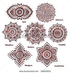 Isolated Set of beautiful ornamental 7 chakras