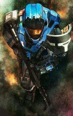 """Iuza's """"Carter"""" from Halo Reach. I miss these days although Kat was my fav noble.I was really upset when she died. Halo Reach, Armor Concept, Concept Art, Video Game Art, Video Games, Gundam, Transformers, Science Fiction, John 117"""