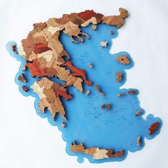 Map of Greece (on acryl) Greece Map, Map Puzzle, Wooden Map, Plywood Boxes, Kids Toys, Children's Toys, Solid Wood, Laser Cutting, 3d
