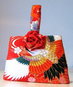 Wedding Purse vintage KIMONO crane flower red by Shantique on Etsy