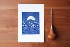 Sea and the Waves  Handcarved & Handprinted by PaprikaPaperGoods