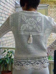 white crochet pullover by Irina Horn