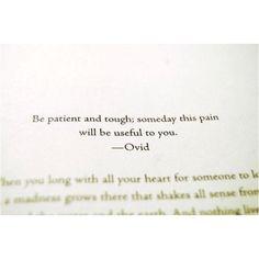 Patience, luv. Patience. #Ovid #BrokenAngels #strength