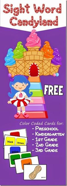 FREE Candyland Sight Word Games with grade specific cards for Preschool Kindergarten Grade Grade and Grade Dolche sight words GREAT RESOURCE homeschool langua. Kindergarten Centers, Kindergarten Reading, Teaching Reading, Preschool Kindergarten, Literacy Centers, Guided Reading, 2nd Grade Reading Games, Reading Centers, Close Reading
