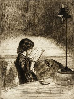 James Abbott McNeill Whistler,  Reading by Lamplight. Etching, c1859.