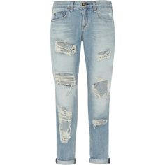 Rag & bone The Boyfriend distressed low-rise jeans ($165) ❤ liked on Polyvore featuring jeans, pants, bottoms, light denim, destroyed boyfriend jeans, ripped boyfriend jeans, loose fit jeans, loose boyfriend jeans and torn jeans