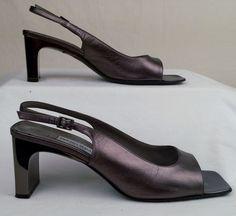 BRUNO MAGLI 7.5 M Women's Sling Back Silver Leather Metallic Mirror Heels #BrunoMagli #Slingback #Formal