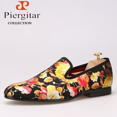 Piergitar Chinese style Printing flowers Men Cloth shoes Men Wedding and Party Loafers Men's Flats Size US 6-14 Free shipping