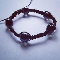 Shamballa maschile Cotone cerato nero e perle in vetro nere