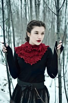 lace knitted scarf victorian romantic  cherry red by Wollarium,