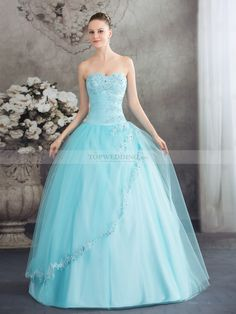 Tulle and Satin Ball Gown with Beaded and Applique Bust