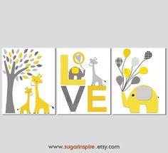 Yellow and grey elephant and giraffe Nursery Art Print Set