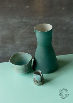 Carafe by Derek Wilson, Cafe Ceramics by Jack Doherty, photo by Peter Rowen