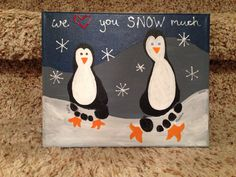 "Penguin footprint canvas ""we love you snow much"""