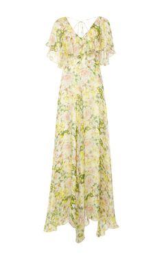 Mariana Ruffled Silk-Chiffon Maxi Dress by Isolda Now Available on Moda Operandi