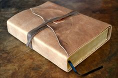 "Leather bible cover, large 6"" x 9"" x 2"" bible beautifully recovered is soft brown distressed cowhide. This leather is soft enough to sleep on and"