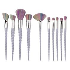 A magical brush set with pearlescent, twisted handles and pastel, multi-colored bristles designed for all your blending and buffing needs. Lovingly crafted with delicate, unicorn inspired handles and