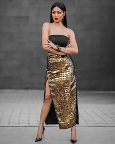 """""""Stay golden ✨ Skirt by from Micah Gianneli News Fashion, Urban Fashion Trends, Spring Fashion Trends, Fashion Tips, Gold Fashion, Street Fashion, Fashion Design, Long Gold Skirt, Party Fashion"""
