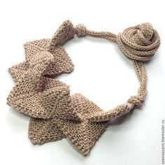 Line knitting necklace / Колье, бусы ручной работы. Заказать Колье Мистика, натуральный. Елена. Ярмарка Мастеров. 100% лен, колье, натуральный лен