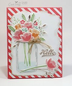card flower bouquet, flowers in a jar, vase, SU Jar of Love Stampin UP - Amy's Inkin' Krew Hello Card by Jari at Splitcoaststampers Card Making Inspiration, Making Ideas, Mason Jar Cards, Mason Jars, Love Jar, Stamping Up Cards, Get Well Cards, Cool Cards, Flower Cards