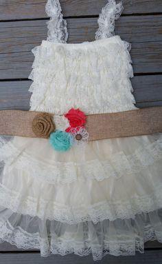 Ivory Flower Girl Dress -Lace Pettidress/Rustic Flower Girl/Country Flower Girl Dress-Country Wedding-Vintage Wedding-Burlap Sash-Coral-Mint on Etsy, $55.50