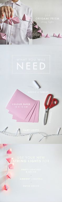 DIY Origami Prism String Lights // Zana DIY