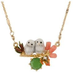 Les Nereides In The Moonlight Snow Owls Babies On Their Branch And... ($165) ❤ liked on Polyvore featuring jewelry, necklaces, white, white necklace, 14 karat gold necklace, 14k chain necklace, short necklaces and 14k heart necklace