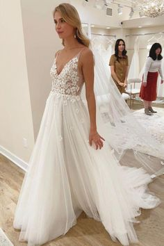 Buy Elegant A line Spaghetti Straps V Neck Tulle Wedding Dresses, Wedding Gowns in uk.Rock one of the season's hottest looks in a burgundy homecoming dress or choose a timeless classic little black dress. How To Dress For A Wedding, Wedding Dresses With Flowers, Dream Wedding Dresses, Bridal Dresses, Wedding Gowns, Dresses Dresses, Wedding Shoes, Fashion Dresses, Backless Wedding